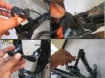 #4. Segera pasang clip-on setelah disc rotor terlepas. Mencegah kampas rem merapat akibat handel tertekan tidak sengaja. Pasang juga cover dudukan v-brake dan anting depan untuk menutupi benda tajam.